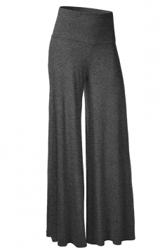 Womens Stylish Plain Wide Leg Palazzo Pants Deep Gray