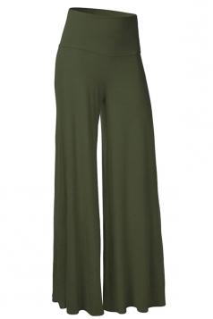 Womens Stylish Plain Wide Leg Palazzo Pants Deep Green