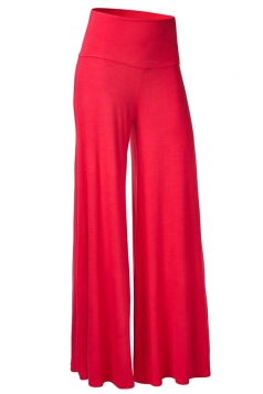 Womens Stylish Plain Wide Leg Palazzo Pants Red