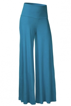Womens Stylish Plain Wide Leg Palazzo Pants Turquoise