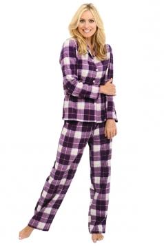 Womens Long Sleeve Shirt Collar Plaid Print Pajama Set Light Purple