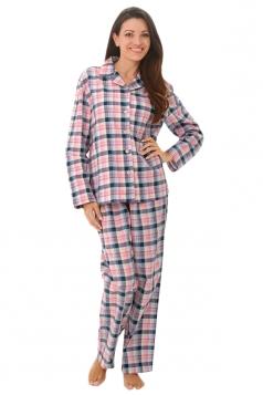 Womens Long Sleeve Shirt Collar Plaid Print Pajama Set Pink