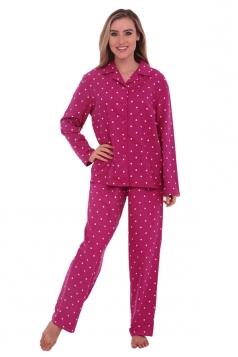 Womens Long Sleeve Shirt Collar Polka Dot Print Pajama Set Rose Red