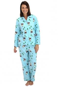 Womens Long Sleeve Shirt Collar Penguins Print Pajama Set Turquoise