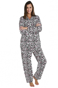 Womens Long Sleeve Shirt Collar Leopard Print Pajama Set Black