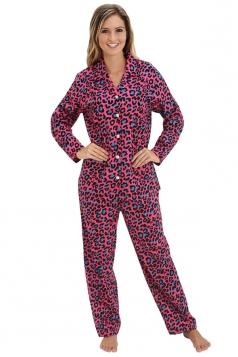 Womens Long Sleeve Shirt Collar Spots Print Pajama Set Pink