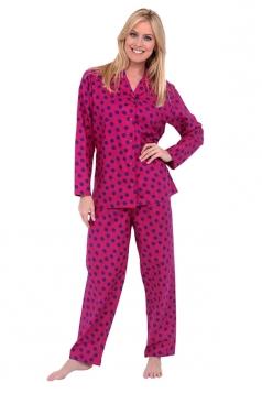 Womens Shirt Collar Long Sleeve Polka Dot Print Pajama Set Rose Red