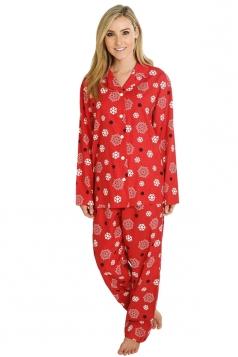 Womens Long Sleeve Shirt Collar Snowflake Print Pajama Set Red