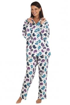 Womens Long Sleeve Shirt Collar Paisley Print Pajama Set Turquoise