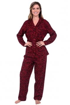 Womens Long Sleeve Shirt Collar Hearts Print Pajama Set Ruby