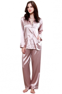 Womens Plain Shirt Collar Long Sleeve Silk Pajamas Set Beige White