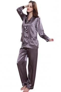 Womens Plain Shirt Collar Long Sleeve Silk Pajamas Set Gray