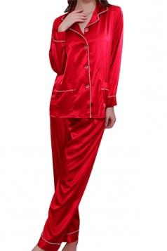 Womens Plain Shirt Collar Long Sleeve Silk Pajamas Set Red