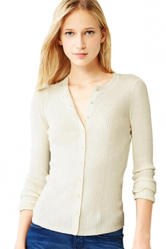 Womens Plain Long Sleeve Elastic Knitted Cardigan Beige White