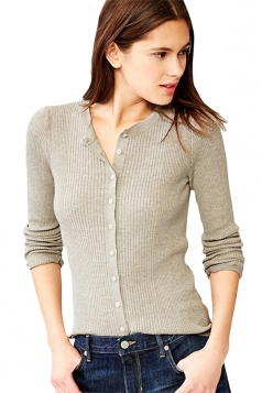 Womens Plain Long Sleeve Elastic Knitted Cardigan Gray