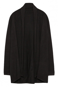 Womens Stylish Plain Long Sleeve Knitted Cardigan Black