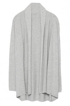 Womens Stylish Plain Long Sleeve Knitted Cardigan Gray