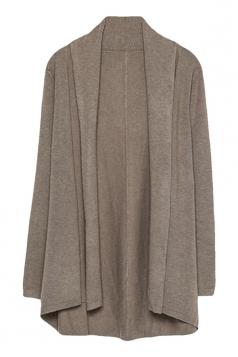 Womens Stylish Plain Long Sleeve Knitted Cardigan Khaki