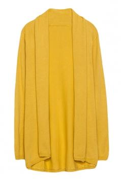 Womens Stylish Plain Long Sleeve Knitted Cardigan Yellow