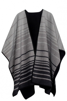 Womens Thick Warm Stripe Patterned Shawl Poncho Light Gray