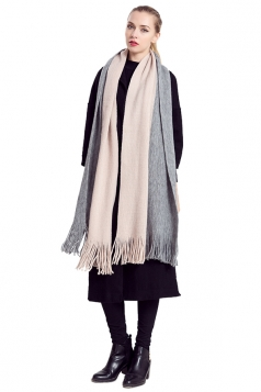 Womens Color Block Fringed Cashmere Shawl Scarf Gray