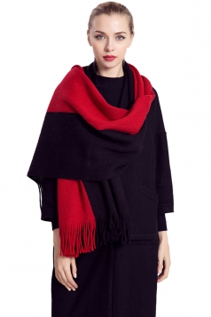 Womens Color Block Fringed Cashmere Shawl Scarf Red