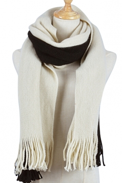 Womens Color Block Fringed Cashmere Shawl Scarf White