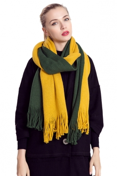 Womens Color Block Fringed Cashmere Shawl Scarf Yellow
