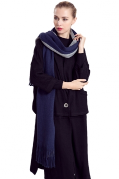 Womens Color Block Fringed Cashmere Shawl Scarf Navy Blue