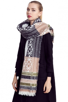 Womens Geometric Patterned Egypt Totem Print Shawl Scarf Black