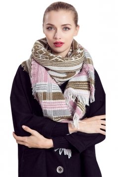 Womens Geometric Patterned Egypt Totem Print Shawl Scarf Pink