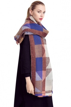 Womens Geometric Print Color Block Thick Warm Shawl Scarf Blue