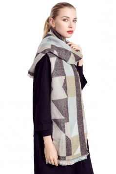 Womens Geometric Print Color Block Thick Warm Shawl Scarf Khaki