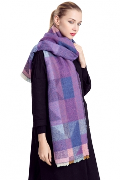 Womens Geometric Print Color Block Thick Warm Shawl Scarf Purple