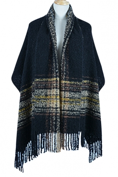 Womens Colored Striped Patchwork Fringed Warm Shawl Scarf Black