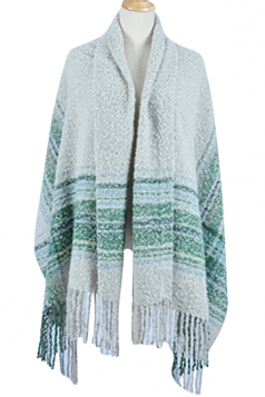 Womens Colored Striped Patchwork Fringed Warm Shawl Scarf Beige White