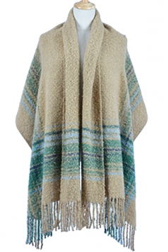 Womens Colored Stripe Patchwork Fringed Warm Shawl Scarf Khaki