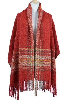 Womens Colored Striped Patchwork Fringed Warm Shawl Scarf Ruby