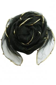Womens Plain Organza Golden Beaded Edging Thin Soft Scarf Black