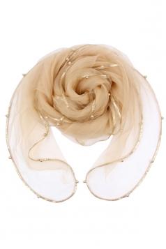 Womens Plain Organza Golden Beaded Edging Thin Soft Scarf Beige White