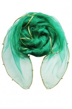 Womens Plain Organza Golden Beaded Edging Thin Soft Scarf Green