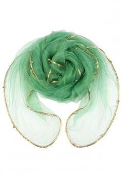 Womens Plain Organza Golden Beaded Edging Thin Soft Scarf Light Green