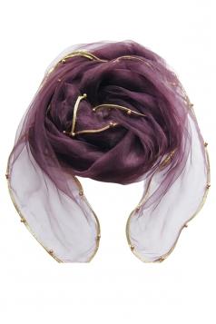 Womens Plain Organza Golden Beaded Edging Thin Soft Scarf Purple