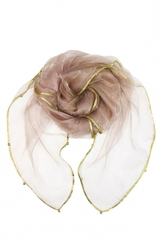 Womens Plain Organza Golden Beaded Edging Thin Soft Scarf Pink