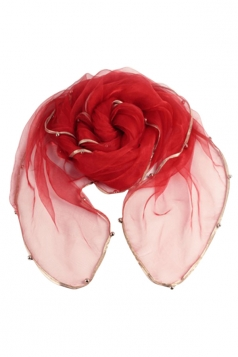 Womens Plain Organza Golden Beaded Edging Thin Soft Scarf Red