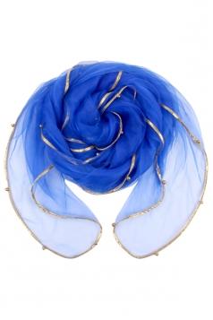 Womens Plain Organza Golden Beaded Edging Thin Scarf Sapphire Blue
