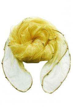 Womens Plain Organza Golden Beaded Edging Thin Soft Scarf Yellow