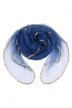 Womens Plain Organza Golden Beaded Edging Thin Soft Scarf Navy Blue