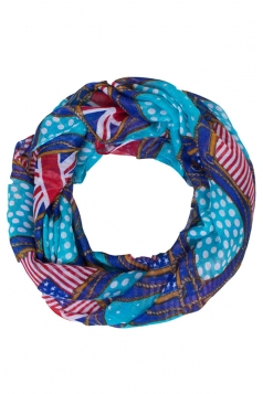 Womens Stylish British and American Flags Print Voile Scarf Blue
