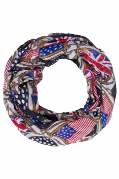 Womens Stylish British and American Flags Print Voile Scarf Black